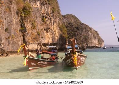 Ko Phi Phi/Thailand - 24.01.2019:Ko Phi Phi Island in Thailand, beautiful shore of Andaman sea.