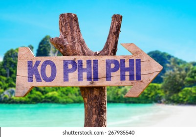 Ko Phi Phi wooden sign with beach background