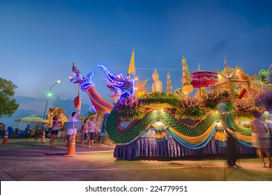 "KO SAMUI - OCTOBER 16: ""NGAN DUAN SIB"" Traditional of buddhist festival; Decorations of the parade on October 16, 2014 in ko samui surat thani, Thailand."