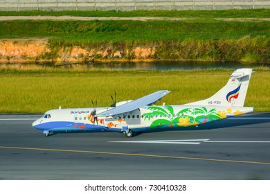KO SAMUI , THAILAND - OCTOBER 8, 2017 : ATR72 HS-PZH Airplane of Bangkok Airways landed on runway at Ko Samui International Airport , arrival flight from Bangkok