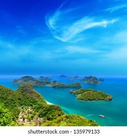 Ko Samui Thailand travel destination. Angthong archipelago beautiful aerial panoramic view