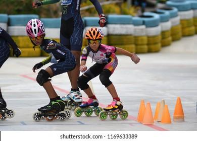 "KO SAMUI,SURAT THANI - AUGUST 26, 2018 : Unidentified children age 6 - 14 years old inline skate participants in action during "" Monkey Dome Challenge 2018 "" in ko samui, Surat Thani, Thailand."
