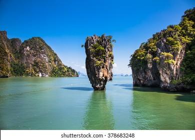 Ko Tapu Island in Thailand near Phuket, popular tourist destination known as James Bond Island.
