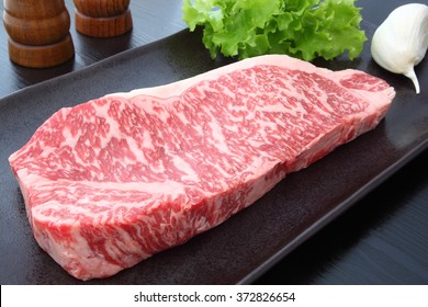 Kobe beef with garlic,salt and pepper/Kobe beef