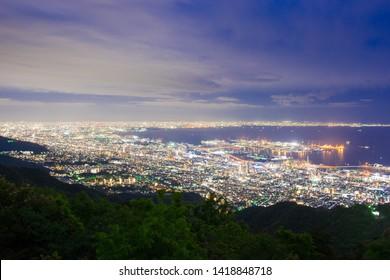the Kobe city view from mt.maya, Kobe