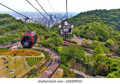 Kobe, Japan - April 2016: Ropeway to Nunobiki Herb Garden on Mount Rokko in Kobe, Japan