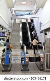 KOBE, JAPAN - APRIL 24: Kobe Sannomiya Hankyu station on April 24, 2012 in Kobe, Japan. The station was opened 1936 and is one of most important in Japan.