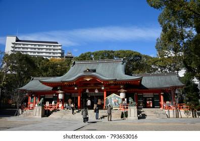 KOBE, JAPAN - December 1, 2017 : Ikuta Shrine in Kobe, Hyogo, Japan. This shrine is very popular tourist spot in Kobe's downtown. This shrine is one of the oldest shrines in Japan.