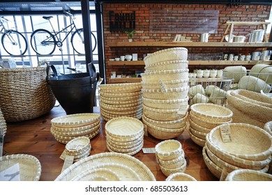 KOBE, JAPAN - JULY 16, 2017: Goods inside Muji Store. MUJI is popular Japanese brand which sell home and decor items as well as clothing and accesories.