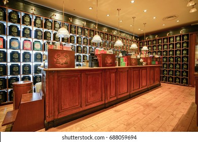 KOBE, JAPAN - JULY 16, 2017: Luxury tea retail store in Luxury shopping mall interior.