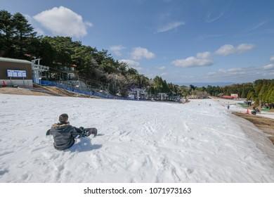 KOBE, JAPAN - MAR 23, 2018 : The Rokko Snow Park is the famous ski resort include skiing, snowboarding and snow playing at Rokko mountain, Kobe.