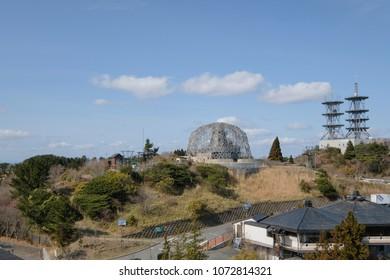 KOBE, JAPAN - MAR 23, 2018 : The beautiful scene at Rokko Garden Terrace, MT. Rokko. The best viewpoint, restaurant and souvenir store.