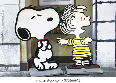 KOBE, JAPAN - MAY 31, 2015 : Photo of Snoopy and Charlie Brown Paper Die-cut set up for decoration of shopping mall Kobe Harbourland, Japan.
