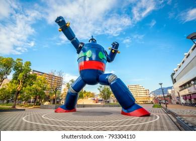KOBE, JAPAN - NOV 7 : The Gigantor robot monument at Shin-nagata Station on November 11, 2017 in Kobe. The character is from the cartoon Testsujin 28