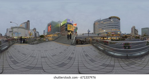 Kobe, Japan - November 2015: Spherical Panorama 360 image of Sannomiya station and Hankyu-Sannomiya stations which are located at the main street of Kobe. Image is compatible with full VR360.