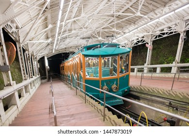 Kobe, Japan: October 12, 2018:  A Rokko Cable Car in the city of Kobe, Japan.   The population of Kobe is 1.5 million people.