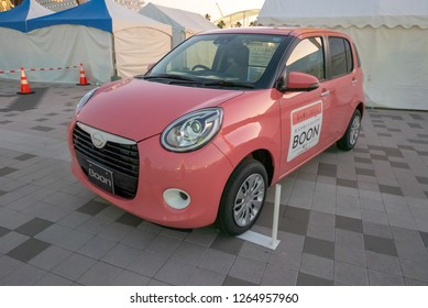 KOBE, JAPAN-NOVEMBER 10, 2018: Daihatsu Boon car in Kobe, Japan. This is a Kei car where it must meet certain Japanese regulation in order to qualify under Kei car category.