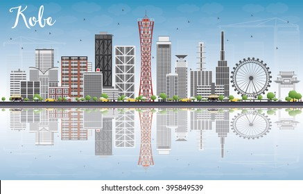 Kobe Skyline with Gray Buildings, Blue Sky and reflections. Business and Tourism Concept with Modern Buildings. Image for Presentation, Banner, Placard or Web Site.