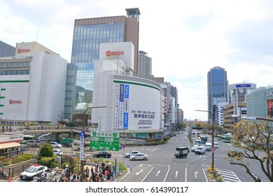 Kobe,Japan - March 27, 2017: Around Sannomiya station It is the center area of Kobe City. It is an area where commercial facilities are lined, centering on Sannomiya.
