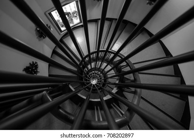 Kobe,Japan-December 8, 2016 - spiral stair case in arima toys and automata museum.Works featuring mechanisms and representative of modern Japan are exhibite along with automata from all over the world