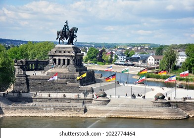 Koblenz City Germany historic monument German Corner where the rivers rhine and mosele flow together on a sunny day
