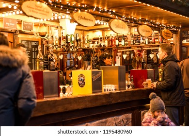 Koblenz GERMANY 16.12.2017 bar selling mulled wine on a Traditional Christmas market by night