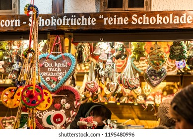 Koblenz Germany 16.12.2017 Christmas market in the old town of Koblenz Selling traditional sweets and gingerbread