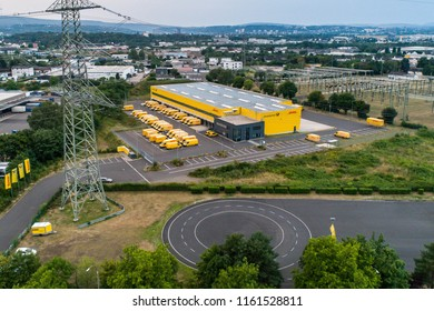 Koblenz GERMANY 21.07.2018 : Aerial view of the DHL distribution centre with it's connection to the highway