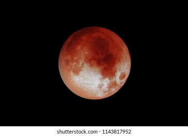 Koblenz - Germany - 27.07.2018 Blood Moon 2018 the dark black sky isolated closeup 3