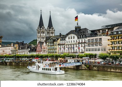 Koblenz, Germany - 7/15/2013:  A tour boat docked at a hotel along the Rhine river near Koblenz Germany