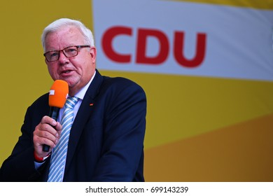 KOBLENZ, GERMANY - AUGUST 16, 2017: Micheal Fuchs gives a speech at the German Corner (Deutsches Eck), on the occasion of the election campaign of the CDU