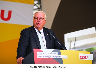 KOBLENZ, GERMANY - AUGUST 16, 2017: Michael Fuchs gives a speech at the German Corner (Deutsches Eck), on the occasion of the election campaign of the CDU
