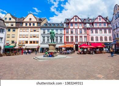 KOBLENZ, GERMANY - JUNE 27, 2018: Jesuit square or jesuitenplatz in Koblenz old town in Germany