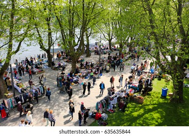 Koblenz, Germany - May 6, 2017; Twice a year a flea market takes place in the Rheinanlagen in Koblenz. The two take place in spring and autumn.