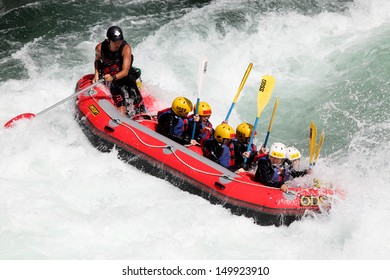 KOBOKE, TOKUSIMA JAPAN - AUGUST 11, 2013: White water rafting on the rapids of river Yosino on August 11, 2013 in Koboke Canyon, Japan. Yosino River is one of the most popular among rafters in Japan.
