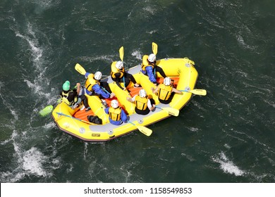 KOBOKE, TOKUSIMA, JAPAN - AUGUST 14, 2018: White water rafting on the rapids of river Yosino on August 6, 2018 in Koboke Canyon, Japan. Yosino River is one of the most popular among rafters in Japan.