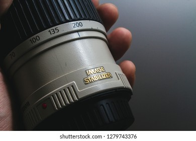 Kobuleti city, Georgia. 8 January of 2019. Focus ring and scale of the 70-200 mm lense