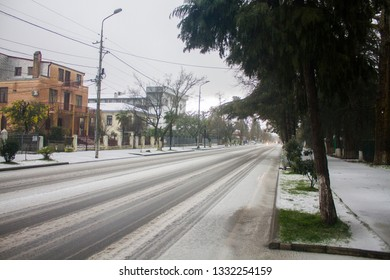 Kobuleti, Georgia. 28th February 2018. Snowfall on the street.