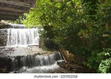 Kocaeli/ Turkey - 05/13/2017: A beautiful, small cascade in Kocaeli Turkey