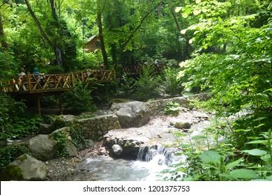 Kocaeli/ Turkey - 05/13/2017 : Refreshing water stream in Masukiye, Kocaeli, Turkey