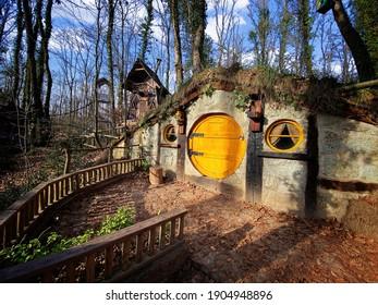 Kocaeli  Turkey - 12 29 2020: Fabelous hobbit houses at the forest. Fantastic hobbit village in Turkey