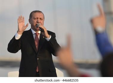 KOCAELI TURKEY, 30 JUNE 2016, Turkish President Recep Tayyip Erdogan speak at opening ceremony of Osmangazi Bridge in Dilovasi district.