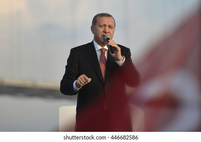 KOCAELI TURKEY, 30 JUNE 2016, Turkish President Recep Tayyip Erdogan speak at opening ceremony of Osmangazi Bridge in Dilovasi district.