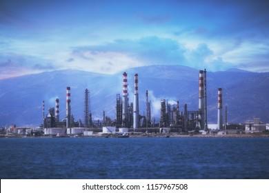Kocaeli / Turkey - 8.15.2018 : Tupras Oil Rafinery - View from Degirmendere Coast