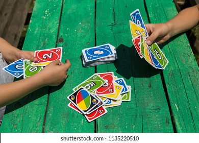 Kocaeli / Turkey- July 8,2018 ; color card game UNO for children entertainment time. play with number cards in the preschool.