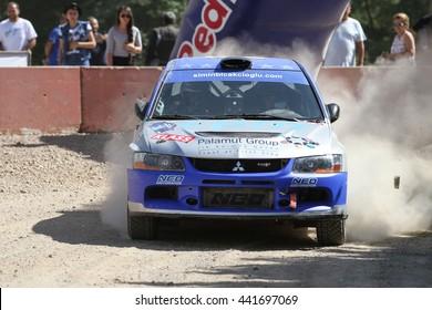 KOCAELI, TURKEY - JUNE 11, 2016: Simin Bicakcioglu drives Mitsubishi Lancer Evo IX of Neomotorspor Team in Kocaeli Rally