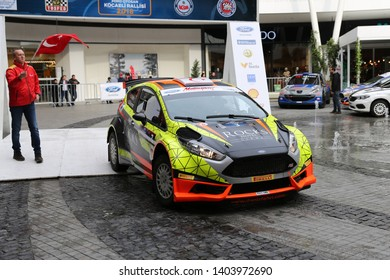 KOCAELI, TURKEY - NOVEMBER 17, 2018: Deniz Fahri with Ford Fiesta R5 of Ford Motorsport Turkey Team in ceremonial start of Kocaeli Rally