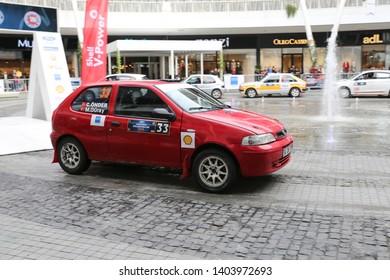 KOCAELI, TURKEY - NOVEMBER 17, 2018: Murat Guray with Fiat Palio in ceremonial start of Kocaeli Rally