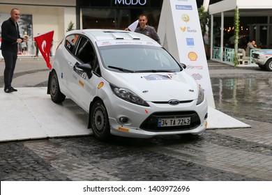 KOCAELI, TURKEY - NOVEMBER 17, 2018: Eytan Halfon with Ford Fiesta R2 of Ford Motorsport Turkey Team in ceremonial start of Kocaeli Rally