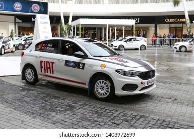 KOCAELI, TURKEY - NOVEMBER 17, 2018: Yigit Timur with Fiat Egea 1.4 T-Jet of Fiat Motorsporlari Team in ceremonial start of Kocaeli Rally